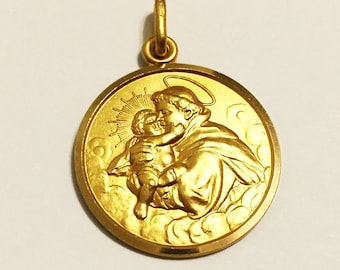 """14k solid yellow gold(1""""inch)St.Anthony religious icon pendant"""
