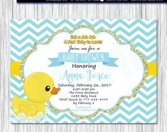 Custom Printed Yellow Rubber Duck Baby Shower Invitations