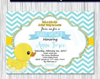 50%Off Rubber Duck Baby Shower Invitation, Duck Invitation, Baby Shower Invite, Baby Boys invite, Duck party, Baby Shower Duck, Birthday