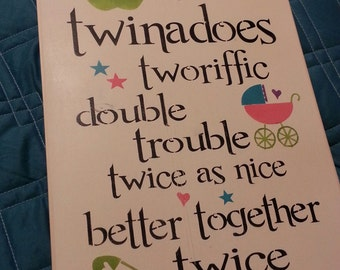 HAND PAINTED wood Sign, Twin sign, Double Trouble, Cute Wall Decor, Babys Room
