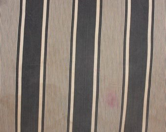 Antique French Fabric Ticking Striped Material Blue and White cotton Denim Sewing Upholstery Pillows Projects Quilting Indigo