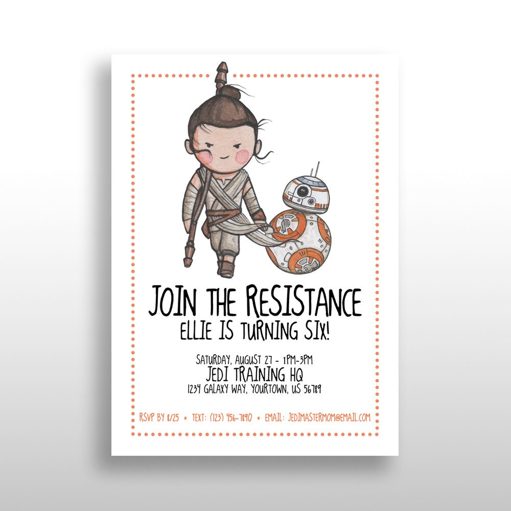 CUSTOMIZED PRINTABLE Star Wars Girl Invitations Star Wars