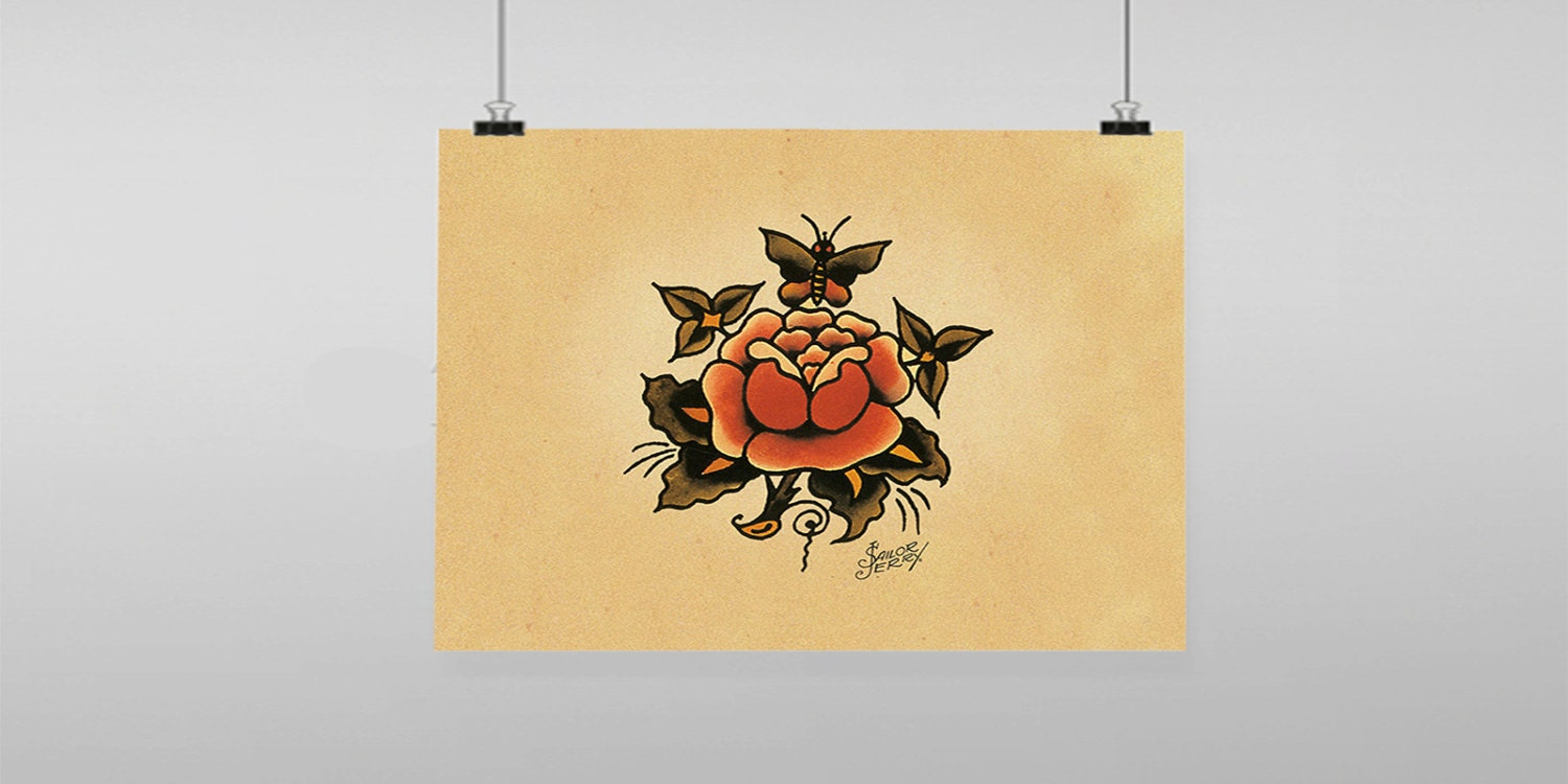 Rose Butterfly Tattoo Sailor Jerry Vintage Reproduction