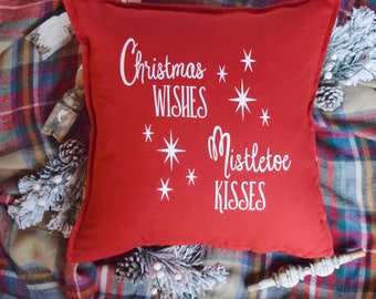 Christmas Wishes Mistletoe Kisses pillow cover