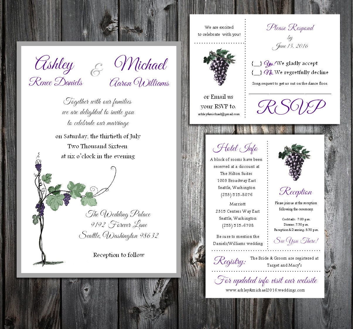 Wine Grapes Rustic Vineyard Wedding Personalized and Printed ...