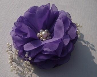 Purple flower hair clip Purple hair accessory Flower Headpiece Wedding Headpieces Flower Hair Comb Bridesmaids Hair Accessories