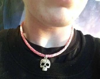 Pink Sugar Skull Necklace
