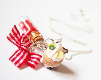 Collana cuore bottiglia (cupcake collana miniatura bottiglia polimero argilla gioielli collana carina cibo collana gioielli in miniatura alimento)