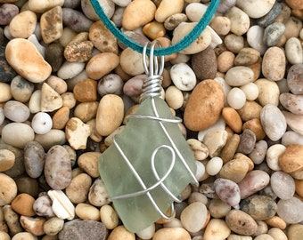 Sea Glass Wrapped in silver plated wire - Selection#5