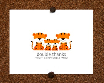 Tiger Baby Twin Thank You Cards. Twin Baby Shower Thank You Cards. Twin Thank Yous. Personalized Stationery (Set of 10)