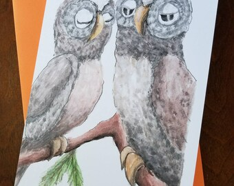 2 OWL Blank CARDS ANNIVERSARY Aniversario Wedding Engagement Cute Owl Couple Owls Love Birds Greeting Cards 5x8 Free Shipping in U.S.A.