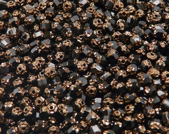 50pcs Cathedral Czech Beads Glass Fire Polished Faceted 4mm Jet Black Bronze Ends (4FPC001)
