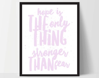 Printable, Hope is Stronger Than Fear, Art Print, Quote, Inspirational Print Decor, Digital Art Print, Office Print, 8x10, 12x16, Purple