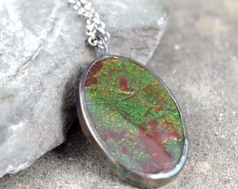 Ammolite Pendant-Ammolite Necklace-Fossil Gemstone-Native Buffalo Stone-Feng Shui-Raw Gemstone Jewellery-Alberta Gemstone-Men's Jewellery