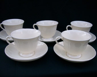 Wedgewood Queens Shape Cup and Saucer 5 Sets Plus 2 Cups