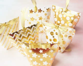 12pcs gold star dot Striped Paper Box with ribbon candy Cookie valentine chocolate gift Packaging Wedding Christmas Use