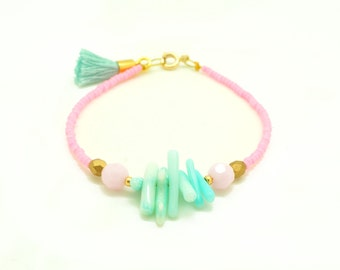 Pastel Pink and Seafoam Swarovski Beaded Tassel Bracelet - Mint Bracelet - Seed Bead Bracelet