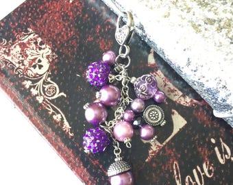 Purple TN Journal Charm, Planner Charm, Beaded Key chain, Traveler's Notebook Bling, Junk Journal Charm, Purse Dangle, Purple Purse Charm