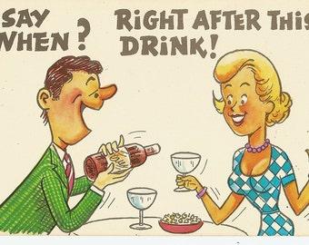 Vintage Comic Postcard Risque Humor Date Night Say When, Cartoon Comic Postcard Lastichrome Colourpicture, Vintage Ephemera