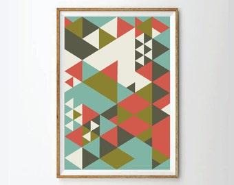 Geometric poster art print, green art, sixty art, squares art, retro style