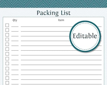 Packing List - Fillable - Printable PDF - Instant Download