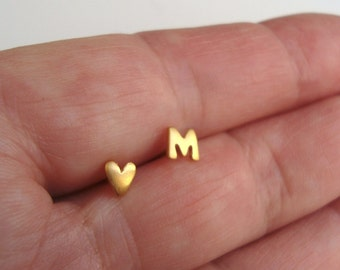 Heart Earring Solid Gold Initial Earring ONE PAIR Heart Stud Initial Stud Yellow gold Rose gold White gold Personalized gift Birthday gift