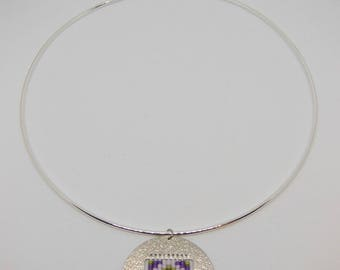 Court Choker featuring a Medallion - purple and green tones