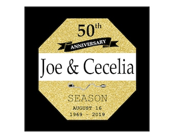 Golden Wedding Anniversary Gifts - Canvas - 50th Anniversary Gift - Anniversary Sign Date - Avalon - Ocean City - Jersey Shore - Cape May