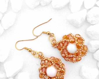 Gold and White Glass Crystal Beaded Spiral Earring Set