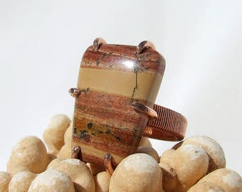 Rhyolite Ring, banded stone, copper ring, natural stone, earthy warm colors, Southwestern, striped stone, ring size 5