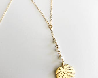 Monstera Pearl Lariat Necklace