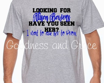"""Prom T-Shirt - Personalized """"Looking  for..."""" Tee - Junior Senior Monogram - Fun Way to Ask Your Date to Prom!  Prom Proposal - Will you Go?"""