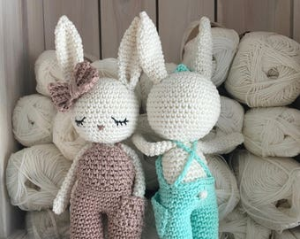 Amigurumi bunny,crochet bunny, crochet toy,baby bunny newborn boy toy, girl bunny doll with trousers,child gift, newborn birth gift, newborn