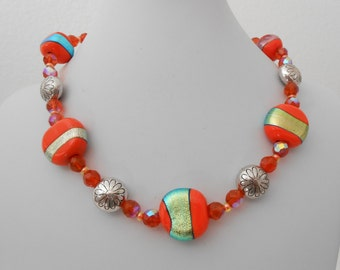 Avant Garde orange and silver glass necklace