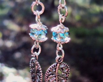 Blue and Silver Leaf Earrings