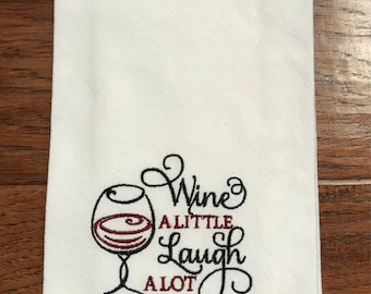 Tea towel, Flour sack, dish towel, kitchen towel, embroidered, wine, hostess gift, house warming gift, bridal shower, wine gift