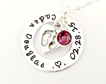 Personalized Mommy Necklace - Custom Hand Stamped Circle of Love Name, Birthdate, Birthstone & Tiny Footprints Charm Necklace - New Mom Gift