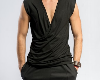 Black kimono top / Ninja shirt / Minimalist tank top / Kimono tank top / Karate tank top / Mens crossover top