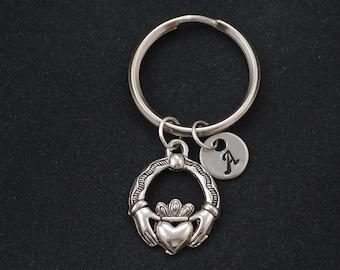 claddagh keychain, sterling silver filled, initial keychain, silver claddagh charm, love, loyalty, friendship symbol, Irish claddagh charm