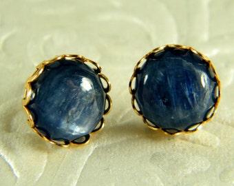 Blue gold earrings, kayanite Stud earrings, Dark blue stone earrings, Post earrings, Kyanite gem stone, Gold filled earrings, Gift for her