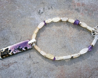 WHITNEYS GARDEN Citrine, Amethyst, Enamel and Sterling Necklace