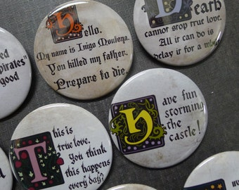 "Princess Bride buttons 2.25"" / 57mm pin back badge"