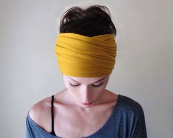 MARIGOLD YELLOW Boho Head Scarf, Mustard Yellow Bohemian Headband, Dark Yellow Boho Hair Wrap, Extra Wide Jersey Headband