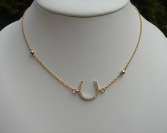 750 goldfill necklace with horseshoes, lucky charms!