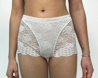 Vintage White Lace High Waisted Underwear with Scalloped Trim