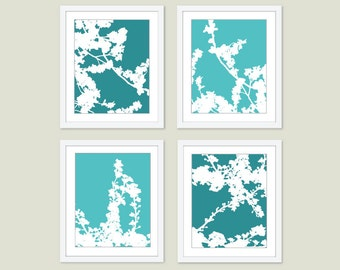 Cherry Blossoms Digital Print Set Teal Turquoise Spring Flowers Multi Panel Wall Art Modern Home Decor