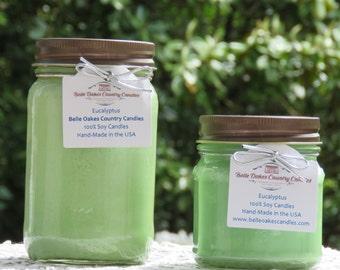 EUCALYPTUS SOY Mason Jar Candle - Eucalyptus Candle, Floral Candle, Flowers Candle - Spring Candle, Summer Candle - Mother's Day Gift