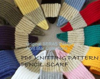 Knit Pencil Scarf PDF KNITTING PATTERN, knitted pencil scarf, hand knit scarf, scarf knit pattern