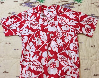 1960s Hawaiian Surf Red Hawaiian Shirt