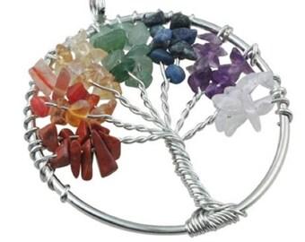 Rainbow Tree of Life Pendant
